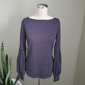 Ann Taylor Navy & White Long Sleeve Top S